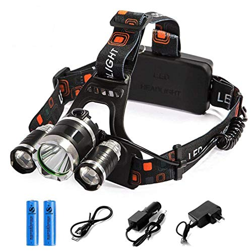 3 LED Rechargeable LED Headlamp 10000 Lumens Bright Headlight Portable