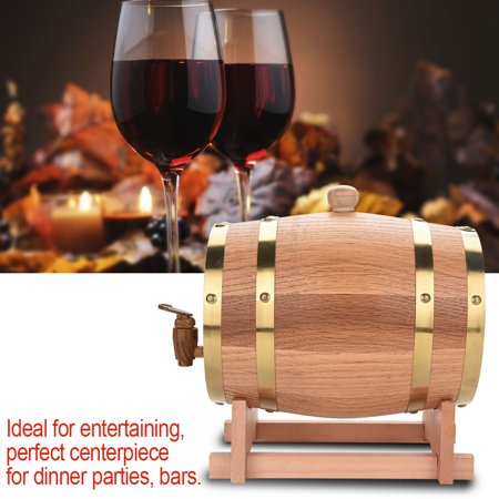 Anauto 3L Vintage Wood Oak Timber Wine Barrel Dispenser for Whiskey Bourbon Tequila, Wood Oak Wine Barrel, Wood Wine Barrel ()