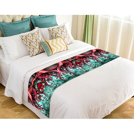 GCKG Octopus Bed Runner,Unique Octopus Abstract Art Bed Runner Bedding Scarf Bed Decoration 20x95 inch - image 2 de 2