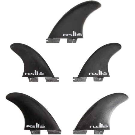 New Fcs Surf Ii Dh Pg Large Tri Quad Fin Set Glass Black (Fcs Ii Am Pc Tri Quad Set)