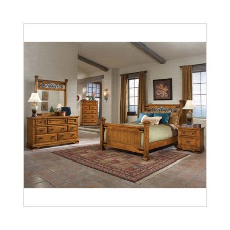 Wildon Home Akron Bedroom Set In Dark Distressed Pine