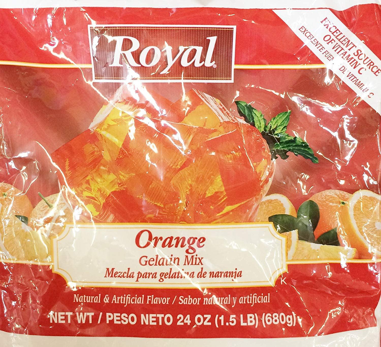 4 PACKS : 24oz Royal Orange Gelatin Mix (One Bag)