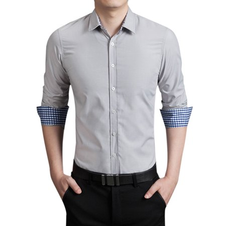 Men 39 S Round Hem Form Fitting Button Closed Front Shirt