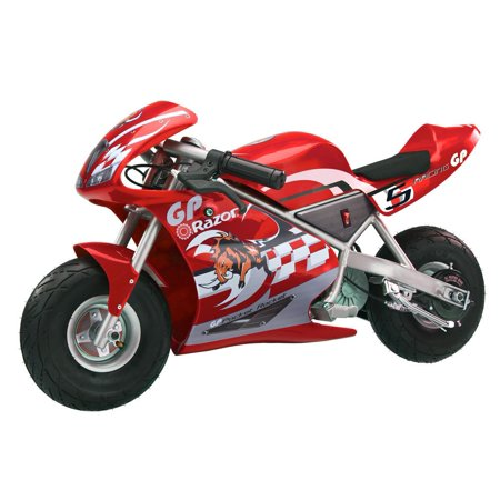 Razor Pocket Rocket 24 V Kids Mini Bike 15 MPH Ride On Electric Motorcycle, Red ()