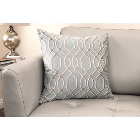 - Frances Contemporary Decorative Feather and Down Throw Pillow In Sea Jacquard Fabric