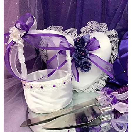 Ring Bearer Pillow and Flower Girl Basket with Cake Knife Set Purple Wedding Set](Wedding Baskets)