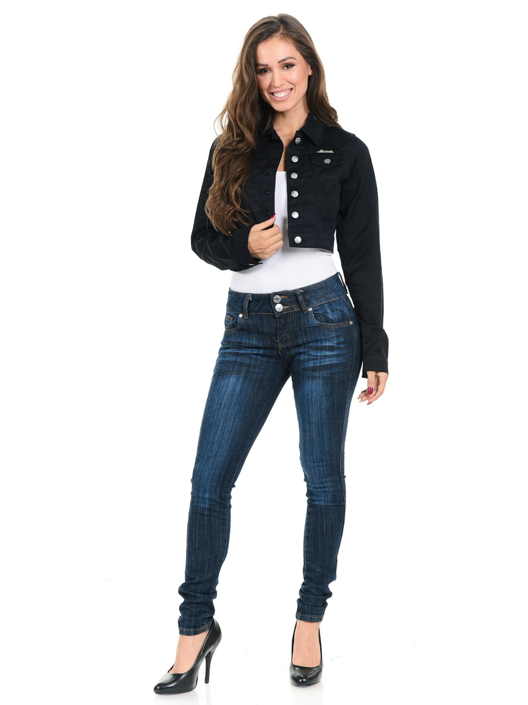 Women's Juniors Premium Stretch Denim Long Sleeve Cropped Jacket