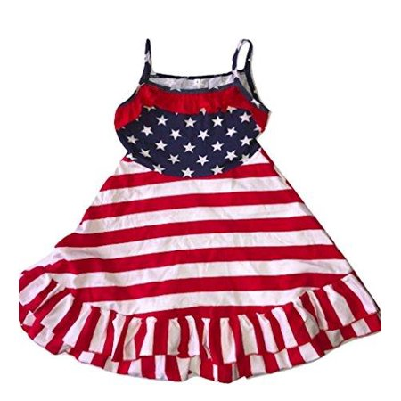 L C Boutique Girls Patriotic Red White Blue Cotton Ruffle Sundress in Size 2 to - Online Kid Boutiques