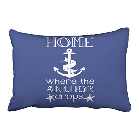 WinHome Rectangl Throw Pillow Covers Vintage Home Is Where The Anchor Drops Nautical Quote Pillowcases Polyester 20 x 30 Inch With Hidden Zipper Home Sofa Cushion Decorative Pillowcase Combo Cover 30 Inch Drop