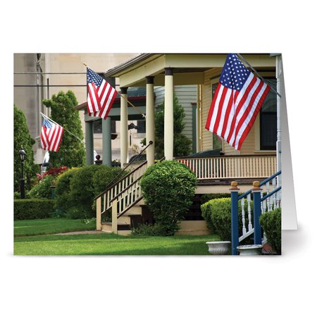 24 Patriotic Note Cards - Hometown Pride - Blank Cards - Red Envelopes Included