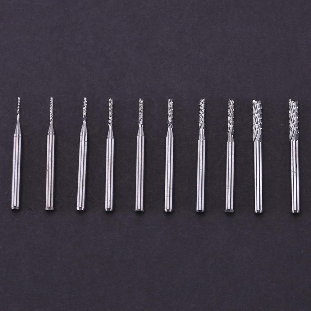 10pc 1//8/'/' Shank Engraving Bit Carbide End Mill CNC Cutter Tool For Carbon Fiber