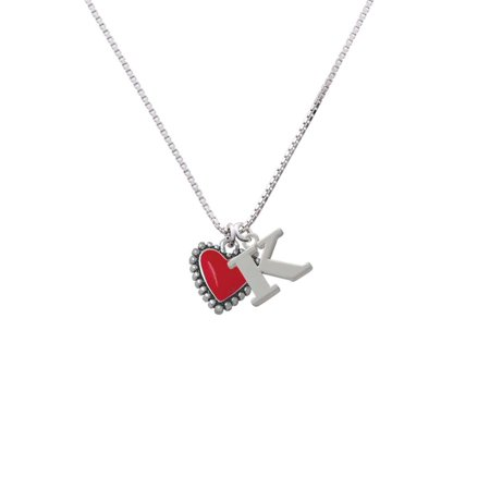 Silvertone Red Heart with Beaded Border - K - Initial Necklace