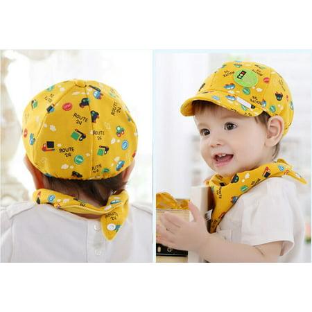 Iuhan Baby Kid Boy Girl Toddler Infant Hat Little Car Baseball Beret Cap Yellow - Infant Ball Caps
