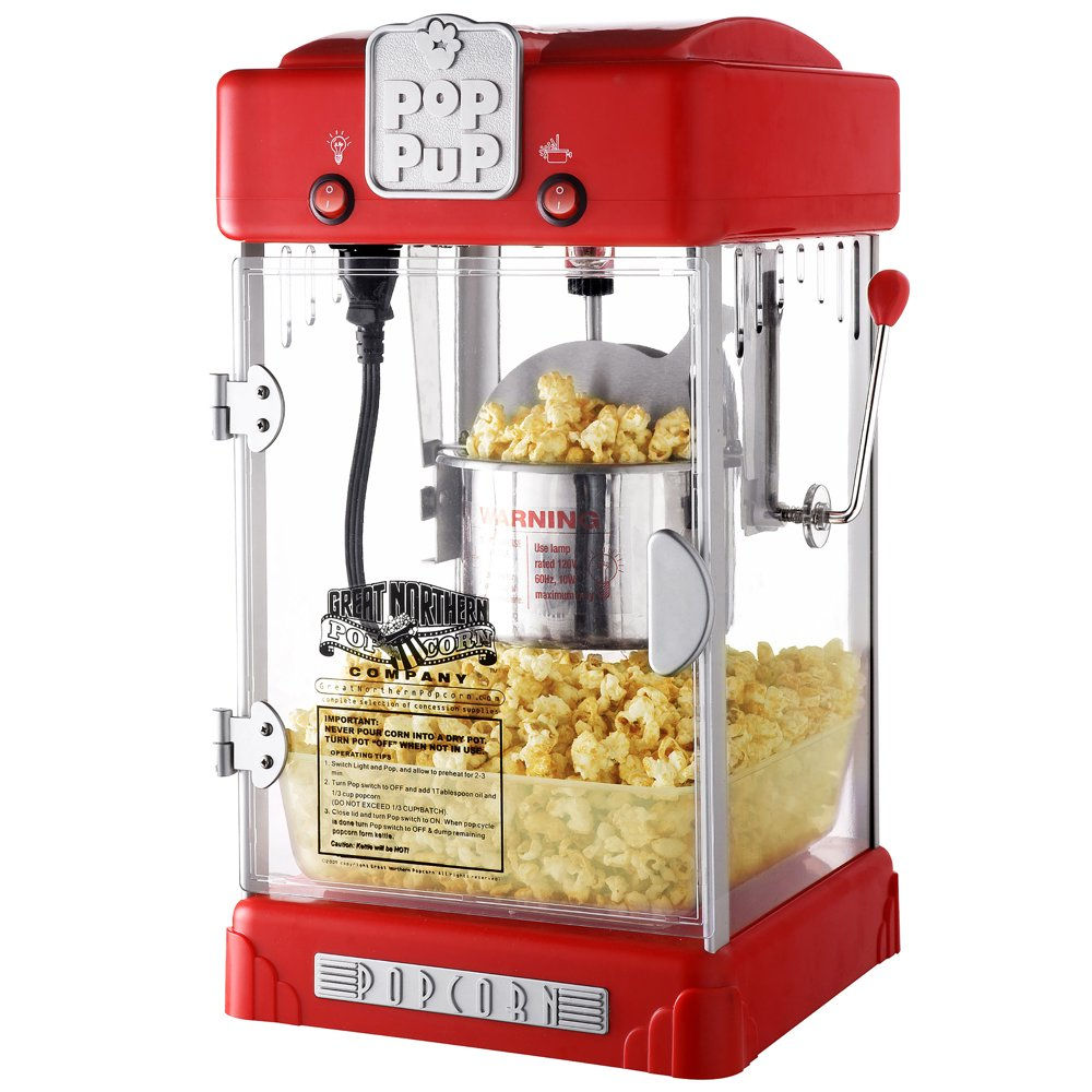 Great Northern Pop Pup Retro Style Popcorn Popper, (2.5oz, Red)