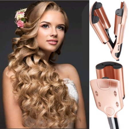 Three Barrel Curling Iron Wand with LCD Temperature Display Ceramic Tourmaline Triple Barrels Dual Voltage Crimping Tool  Best Hair Waver for Beachy Frizz Free Waves Pink or -