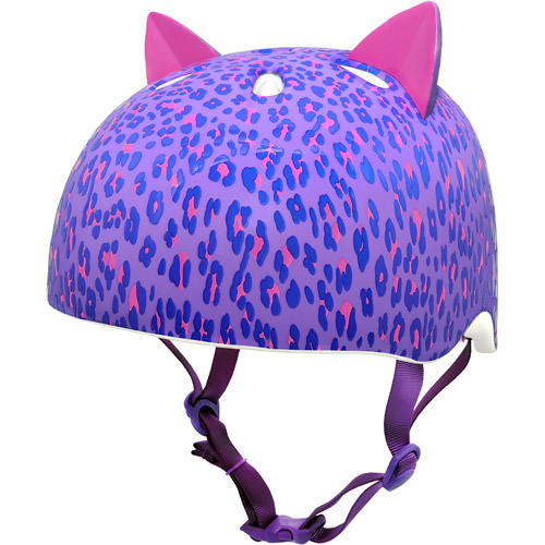 Krash! Leopard Kitty Purple Bike Helmet, Youth 8+ (54-58cm)