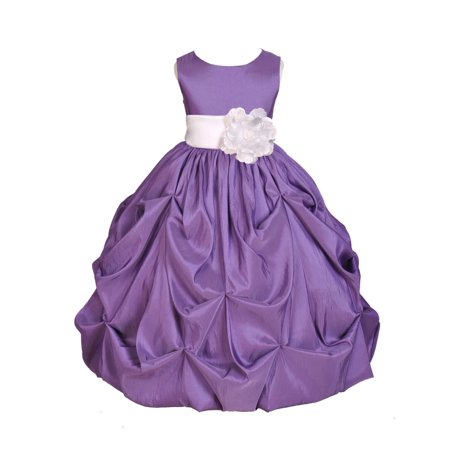 Ekidsbridal Purple Bubble Pick-up Taffeta Flower Girl Dress Christmas Bridesmaid Wedding Pageant Toddler Recital Easter Holiday Communion Birthday Baptism Occasions 301s](Christmas Themed Dresses)