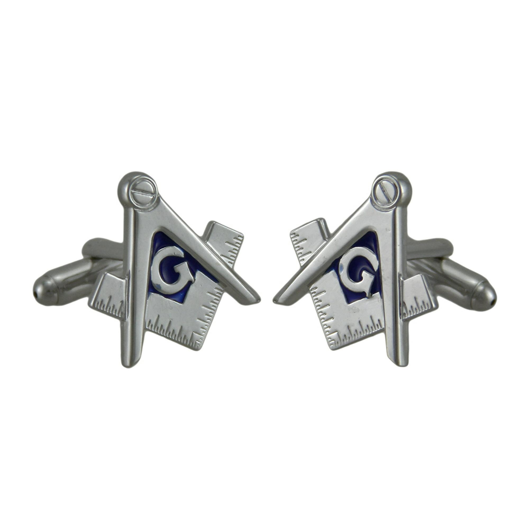 Masonic Compass and Square Polished Silver Finish Cufflinks