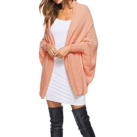 Women Oversized Batwing Sleeve Knitted Poncho Cape Shawl Cardigan Sweater Coat Loose Outwear Open Front Knit Casual Tops