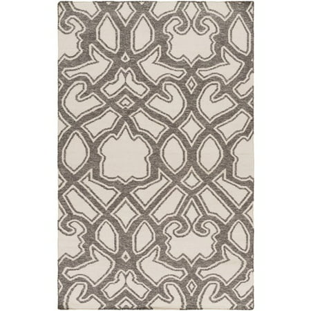 3.25' x 5.25' Transcendent Composition Charcoal Gray and Ivory Hand Woven Reversible Wool Area Throw Rug