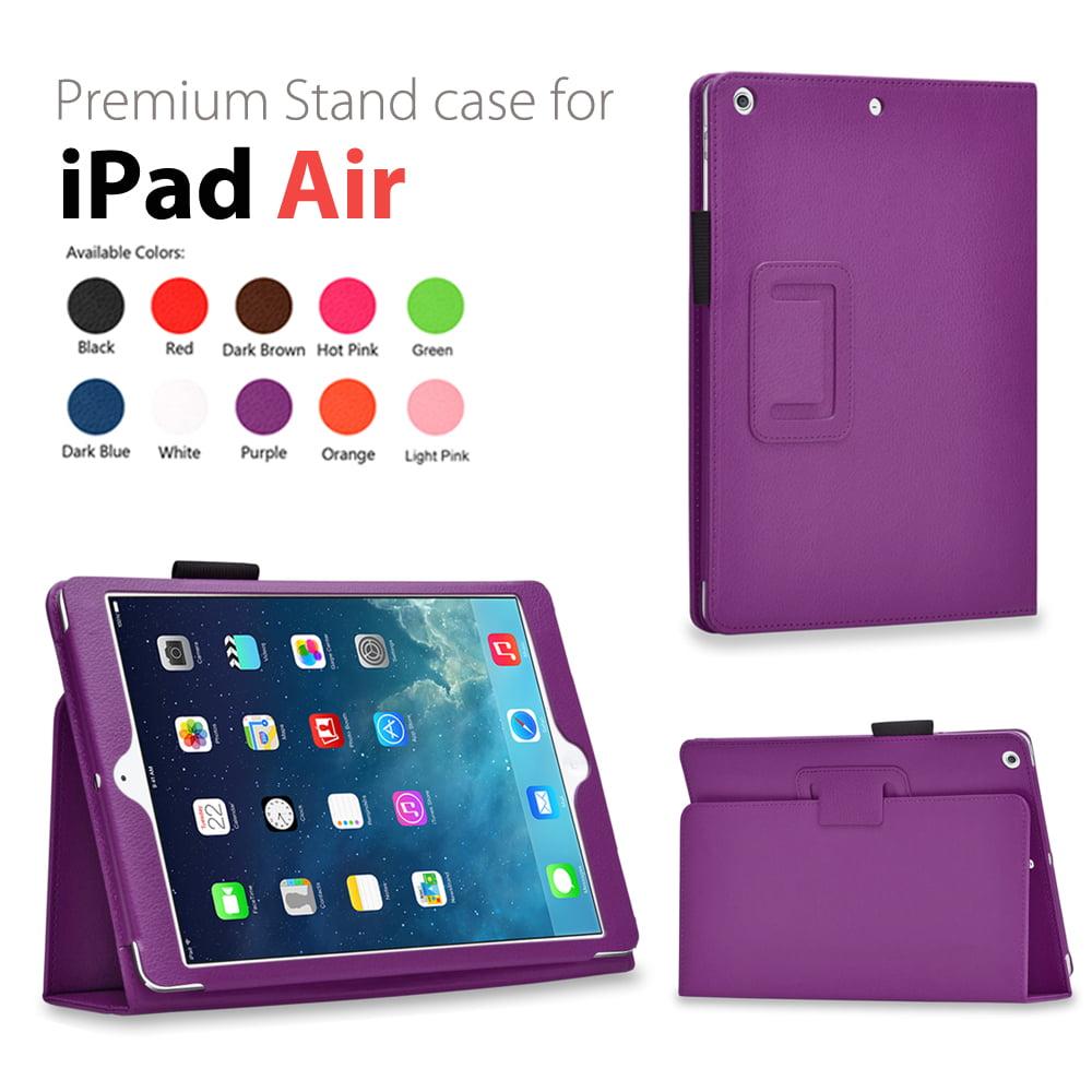 iPad Air 2 Case (Purple) - Slim Fit Synthetic Leather Folio Case Stand Smart Cover Auto Sleep & Wake Feature and Stylus Holder for Apple iPad Air 2 (iPad 6) & iPad Air (iPad 5)