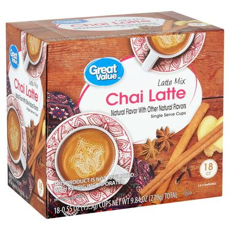 Great Value Chai Latte K-cups, Tea Pods, 18 Ct