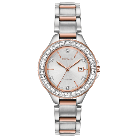 NWT Citizen Ladies Eco-Drive Silhouette Crystal FE1196-57A Stainless Steel Bracelet with Silver-Tone Dial - Citizen Silhouette Crystal