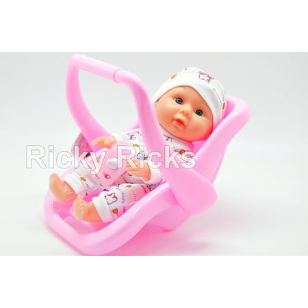 1 Small Talking Baby Doll + Carrier Car Seat Girl Pink Toy Seat Kids Toddler Cute Birthday Gift