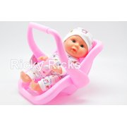 1 Small Talking Baby Doll Carrier Car Seat Girl Pink Toy Kids Toddler Cute