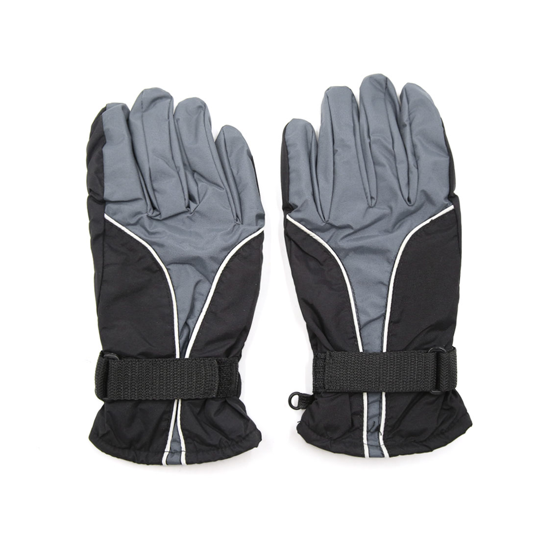 2pcs Gray Soft Cotton Lined Full Finger Motorcycle Loop Fastener Outdoor Gloves