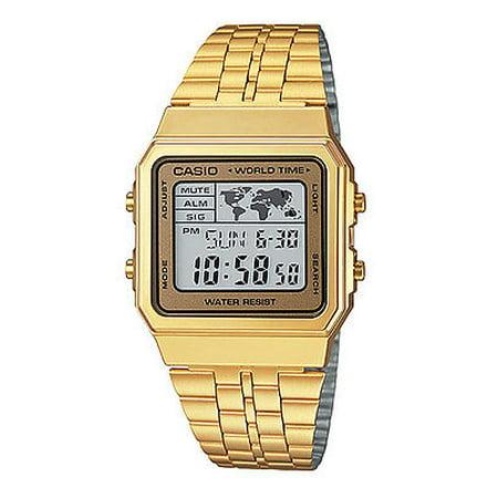 Casio A500WGA-9 Men's Retro Gold Tone World Time Alarm Chronograph Digital Watch