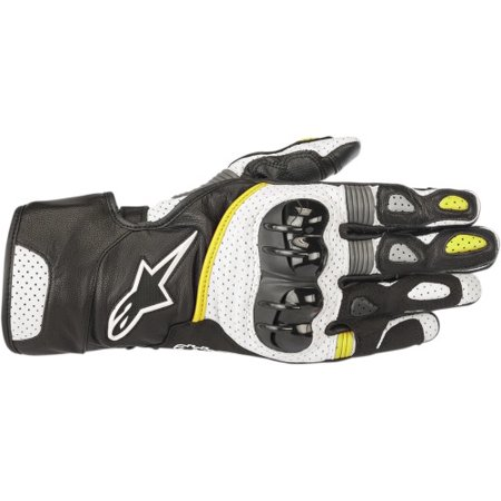 - Alpinestars SP-2 v2 Leather Motorcycle Riding Glove (S, Black White Yellow Fluo) Small Black/White/Yellow