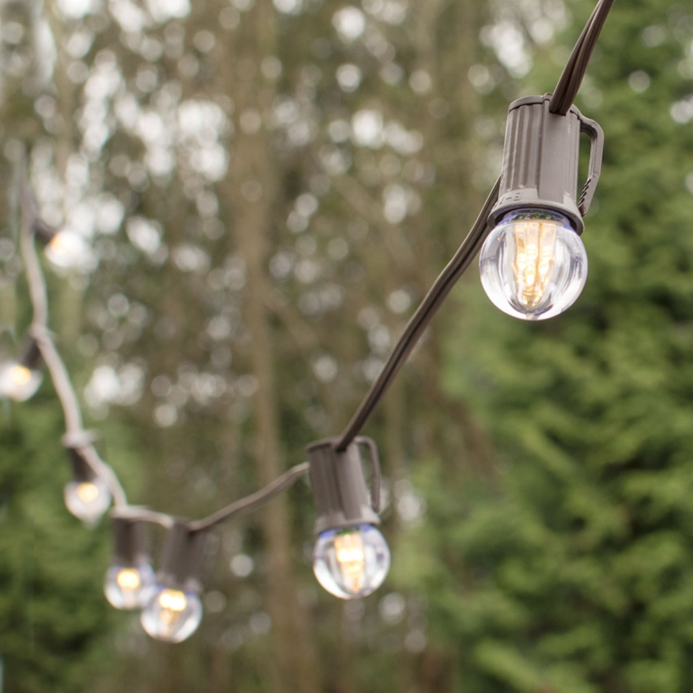 Outdoor String Lights LED Globe String Lights G30 Bulb 25 Ft Brown C9 Strand Warm White by LSD