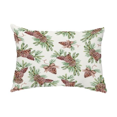 Greenery 14x20 Inch Off White Holiday Print Decorative Outdoor Throw Pillow ()