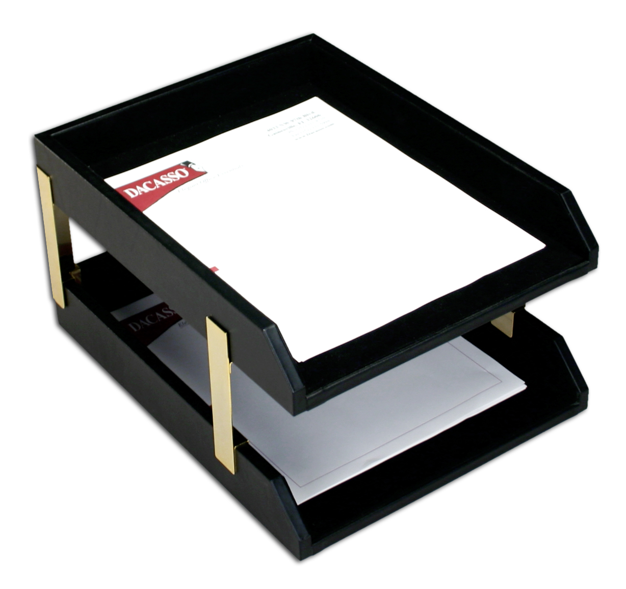 Classic Black Leather Front-load Letter Trays with Gold Stacking Posts by Dacasso