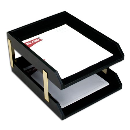 Classic Black Leather Front-load Letter Trays with Gold Stacking Posts (Desk Accessory Front Load Stacking)