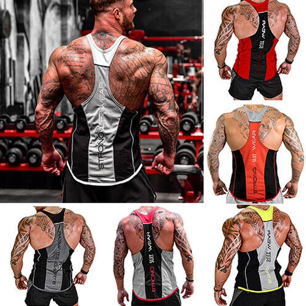 Men Gym Double Sided Vest Stringer Muscle Bodybuilding Workout Training Fitness