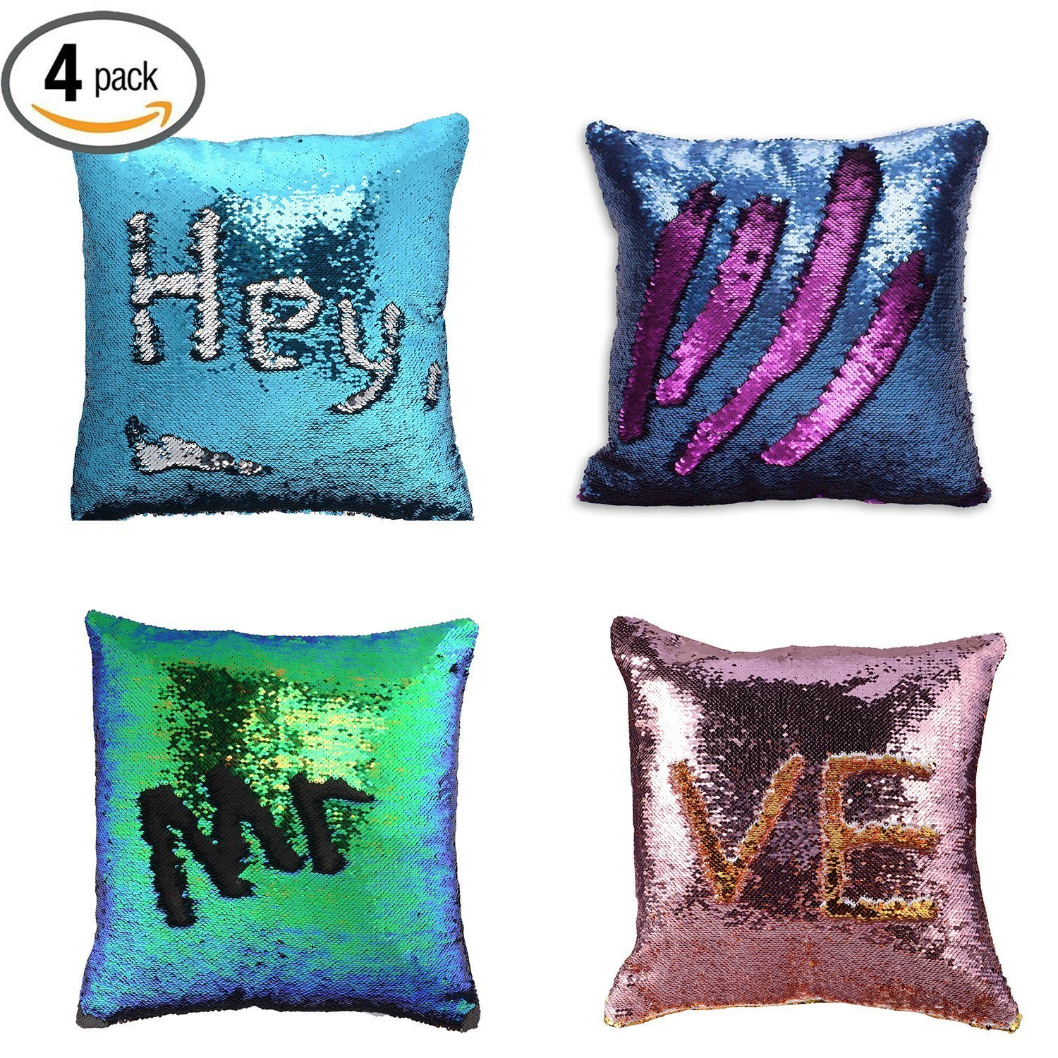 "4-Pack Reversible Mermaid Throw Pillow Case, 16""x16"" Pillow Case Sequins Cushion... by YINGQING TRADE LIMITED"