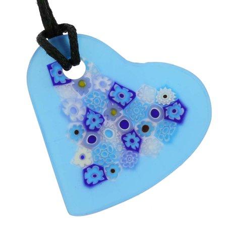 GlassOfVenice Murano Glass Matte Millefiori Heart Necklace - Blue ()
