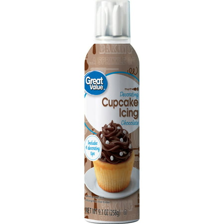 (3 Pack) Great Value Decorating Cupcake Icing, Chocolate, 9.1 oz