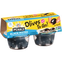 Pearls Black Pitted Large California Ripe Olives, 4 Pack, 1.2 oz. Cup