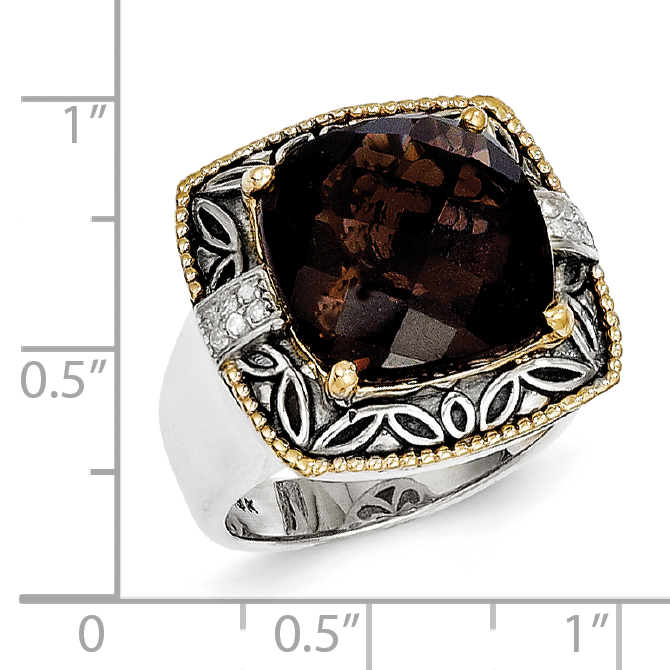 Sterling Silver Two Tone Silver And Gold Plated Sterling Silver w/Smoky Quartz & Diamond Ring - image 2 de 3