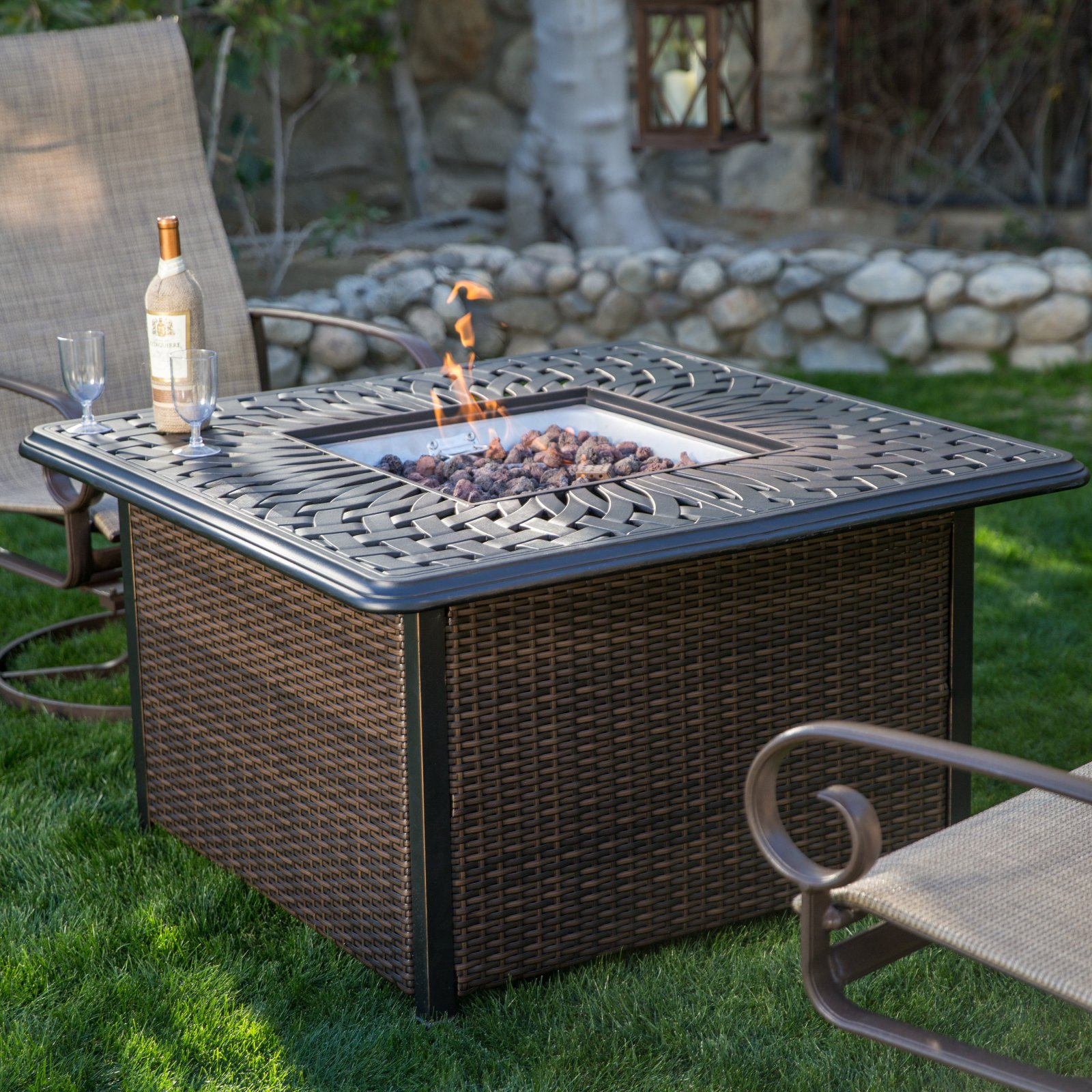 Belham Living Florentine 42 in. Square Propane Firepit Table with Wicker Base by
