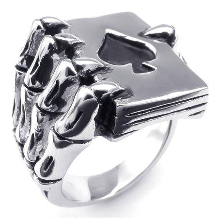 AkoaDa Vintage Style Stainless Steel Men Lucky Rings Gothic Skull Hand Claw Poker Playing Card Design Rings For Men Black Tone Anillos Hombre Black Diamond Skull Ring