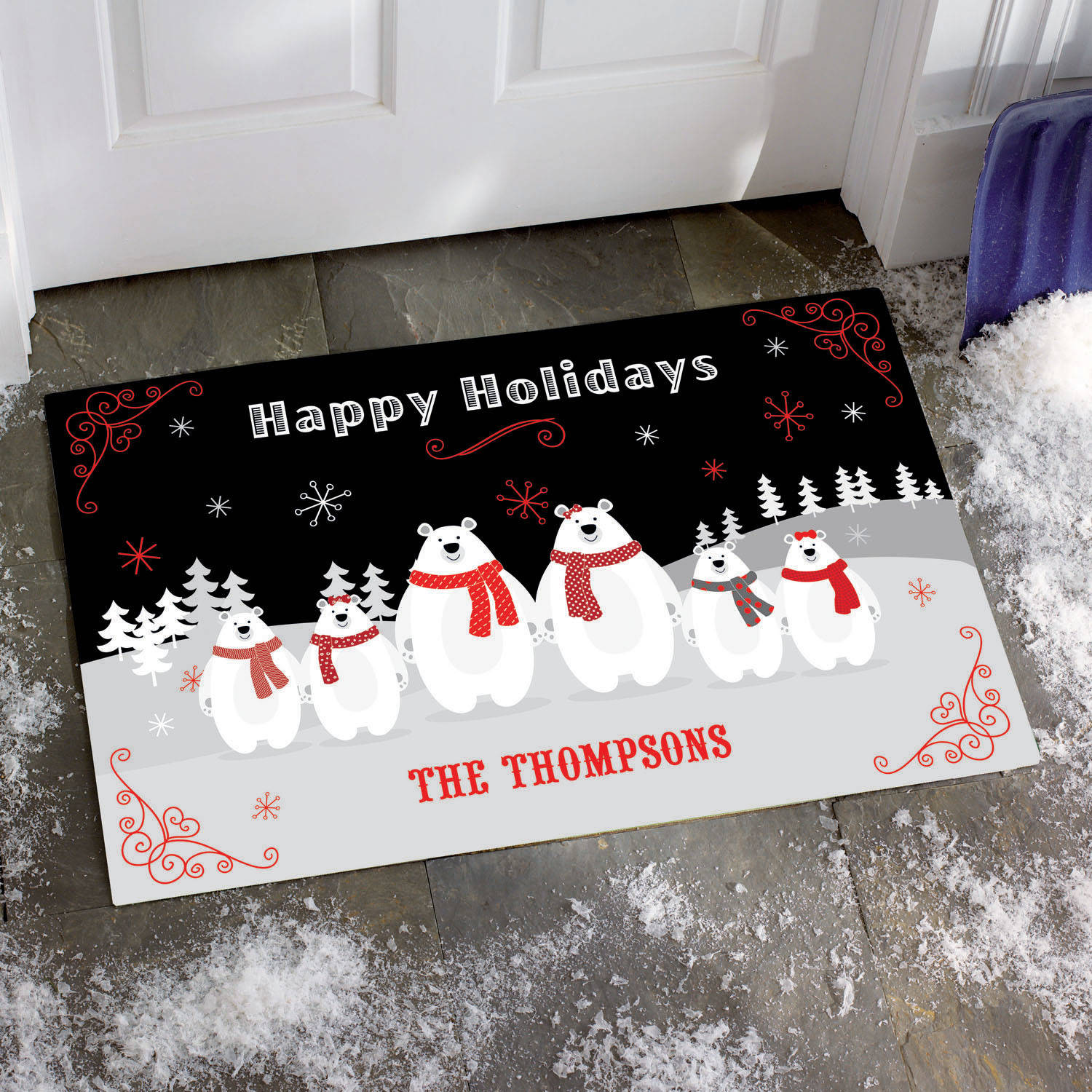 Personalized Pudgy Polar Bear Doormat