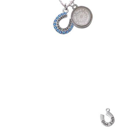 Silvertone Beaded Blue Crystal Horseshoe with Good Luck Sun Sea Sand Serenity Engraved Necklace - Blue Horseshoe