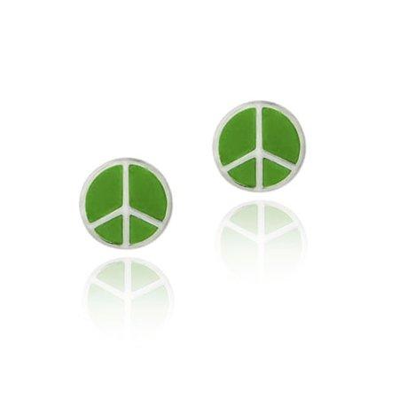 Sterling Silver Green Enamel Peace Sign Symbol Earrings