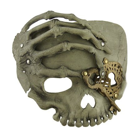Beige Steampunk Pirate Skull w/Skeletal Hand Adult Half Face Halloween Mask - Half Skull Face Halloween