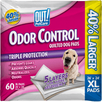"""OUT! Odor Control XL Quilted Dog Pads, 26""""x24"""", 60 Count"""