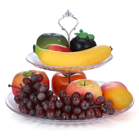 Dilwe 2-Tier Acrylic Cake Tray Fruits Nuts Display Round Decorative Party Desserts Holder,Cakes Holder, 2 Tier Fruit Tray - Fruit Platters Walmart